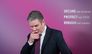 Keir Starmer delivers a speech at Labour headquarters in London