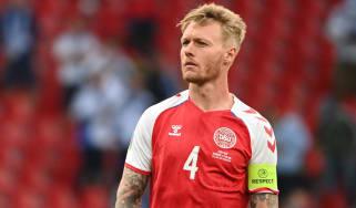 Denmark captain Simon Kjaer in action against Finland at Euro 2020