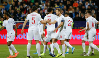 England captain Harry Kane celebrates his goal in the 4-0 win over Kosovo