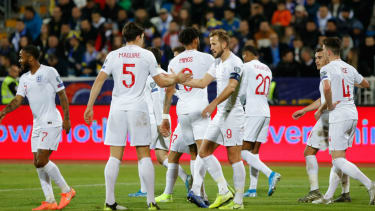 England captain Harry Kane celebrates his goal in the 4-0 win over Kosovo