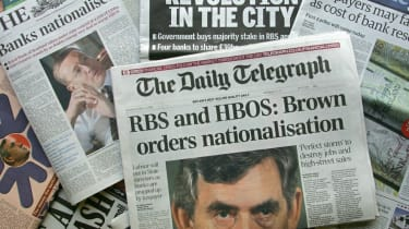 Newspapers report that the UK would invest up to £37bn to bail out Royal Bank of Scotland and other banks