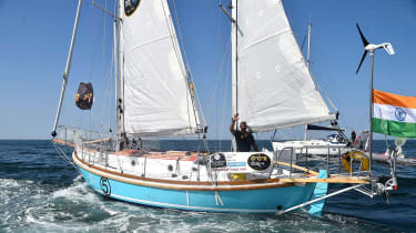 Solo sailor Abhilash Tomy at the start of the 2018 Golden Globe yacht race
