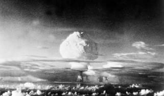 The Hydrogen Bomb, pic: 1952, A picture of the thermo-nuclear device tested by the U,S, at the Elugelab test island in the Marshall Islands , The picture is taken from 50 miles distant and at