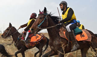 Afghan riders compete during the first edition of the Endurance Horse Riding competition on the outskirts of Kabul.