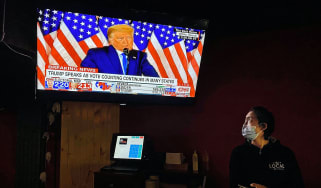 Donald Trump speaks as votes are counted