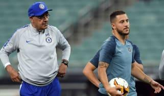 Italian head coach Maurizio Sarri and Belgian attacker Eden Hazard look set to leave Chelsea