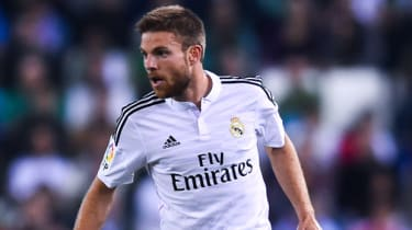 BARCELONA, SPAIN - OCTOBER 29:Asier Illarramendi of Real Madrid CF during the Copa Del Rey Round of 32 first leg match at Power8 Stadium on October 29, 2014 in Barcelona, Spain.(Photo by Davi
