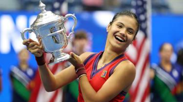 Emma Raducanu celebrates her victory at the US Open