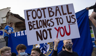 Chelsea FC fans protest against the proposed European Super League