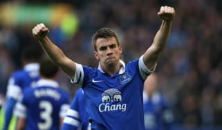 Everton's Seamus Coleman celebrates at Goodison Park