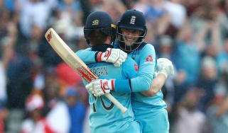 Eoin Morgan and Joe Root celebrate victory in the Cricket World Cup semi final