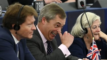 Nigel Farage alongside Brexit Party co-founder Richard Tice and ex-Brexit Party MEP Anne Widdecombe