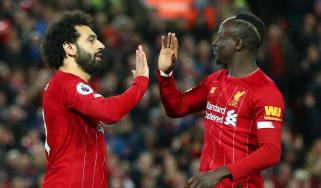 Mohamed Salah and Sadio Mane celebrate Liverpool's first goal against Sheffield United