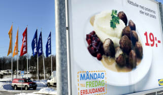 A billboard for IKEA meatballs in a car park outside a store in Stockholm