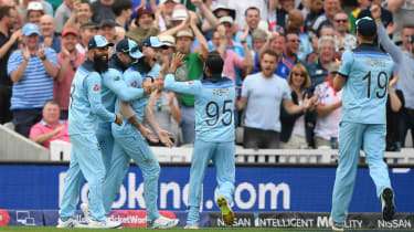 England players congratulate Ben Stokes on his wonder catch against South Africa at The Oval