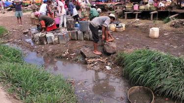 Slum area with poor sanitation in Antananarivo, Madagascar