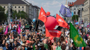 Flags of DIe Linke, Buendnis 90 / DIe Gruenen and of Europe. On 19.05.2019 some 20.000 people joined a demonstration for solidarity in Europe and against nationalism in Munich. (Photo by Alex
