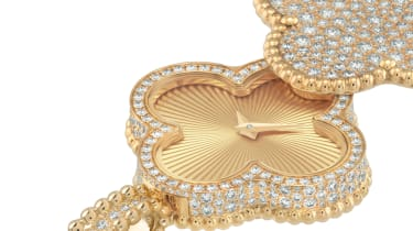 Alhambra pendant watch in diamond and with a guilloche face