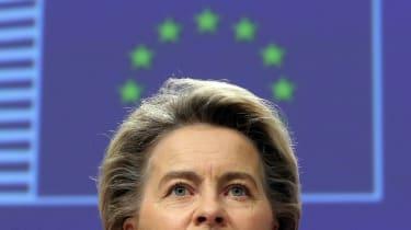 Ursula Von Der Leyen gives a presser on vaccine strategy in Brussels