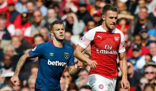 West Ham United midfielder Jack Wilshere and Arsenal's Aaron Ramsey