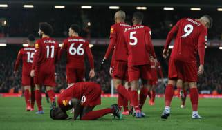 Liverpool striker Sadio Mane celebrates his 81st-minute winner against West Ham