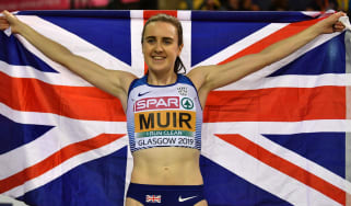 British athlete Laura Muir celebrates her gold medal in the women's 1500m final at the 2019 European Indoor Championships