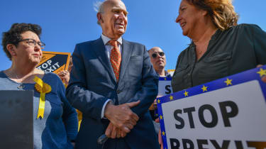 SOUTH QUEENSFERRY, SCOTLAND - MAY 16: Liberal Democrat leader Vince Cable, Sheila Ritchie, Scottish Liberal Democrats European elections candidate and Christine Jardine MP, join Lib Dem Europ