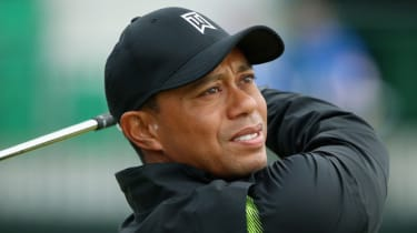 Tiger Woods during a practice round at Hoylake