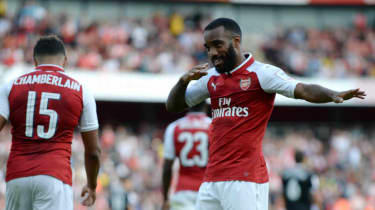 Alexandre Lacazette of Arsenal celebrates his first goal at the Emirates