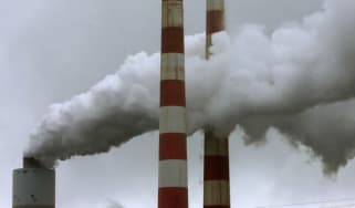 Emissions spew out of a large stack at the coal fired Morgantown Generating Station, Maryland