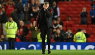 Manchester United manager Ole Gunnar Solskjaer reacts after the 2-0 derby loss to Manchester City