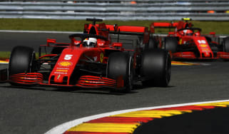 Ferrari drivers Sebastian Vettel and Charles Leclerc race in the 2020 F1 Belgium Grand Prix