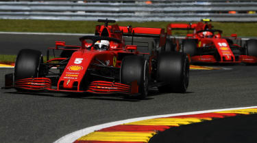 Ferrari drivers Sebastian Vettel and Charles Leclerc race in the 2020 F1 Belgium Grand Prix
