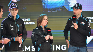 Williams F1 team principal Claire Williams with drivers George Russell and Robert Kubica