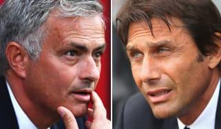 Man Utd manager Jose Mourinho and Chelsea boss Antonio Conte