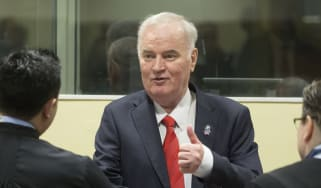 Ratko Mladic during an appearance at The Hague in 2017