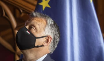 Hungarian Prime Minister Viktor Orban wearing face mask