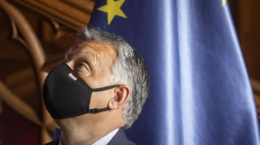 Hungarian Prime Minister Viktor Orban wearing face mask