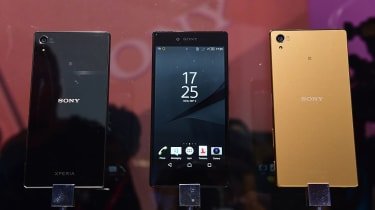 Newly released Sony Xperia Z5 smartphones are on display at the booth of Japan's electronics giant Sony ahead of the opening of the 55th IFA (Internationale Funkausstellung), on September 2,