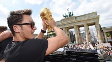 Mesut Ozil celebrates Germany's World Cup triumph