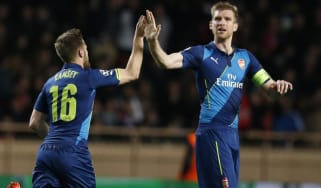 Arsenal's Welsh midfielder Aaron Ramsey celebrates