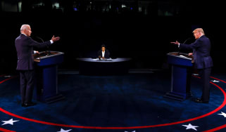 Donald Trump and Joe Biden take part in the final presidential debate.