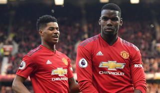 Paul Pogba celebrates a goal with Manchester United team-mate Marcus Rashford