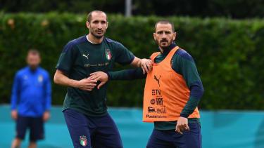Giorgio Chiellini and Leonardo Bonucci at a Italy training session in June