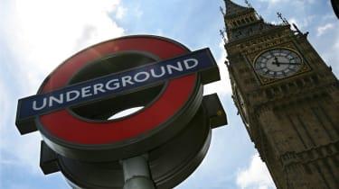 An Underground sign near Big Ben in central London