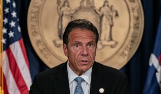 Andrew Cuomo during one of his daily Covid press briefings