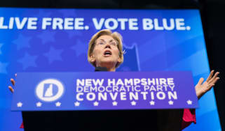 MANCHESTER, NH - SEPTEMBER 07:Democratic presidential candidate, Sen. Elizabeth Warren (D-MA) speaks during the New Hampshire Democratic Party Convention at the SNHU Arenaon September 7, 2019