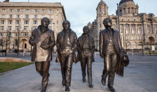 A statue of The Beatles by sculptor Andy Edwards in Liverpool, England