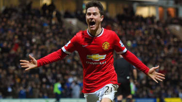 Ander Herrera celebrates scoring during the match between Manchester United and Preston North End