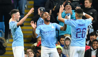 Manchester City forward Raheem Sterling celebrates scoring a hat-trick against Atalanta